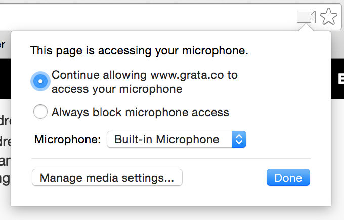 Browser Microphone Permissions